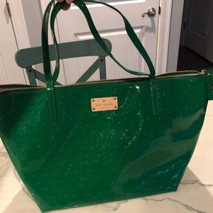 KATE space zip patent leather tote purse